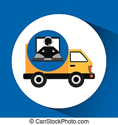 delivery call centre operator online fast delivery truck...