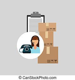 call centre woman working clipboard cardboard box vector...