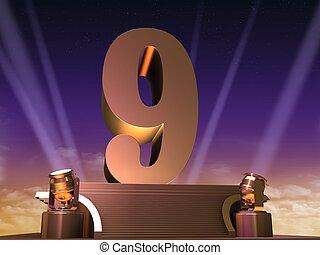 golden nine - 3d rendered illustration of a golden number on...