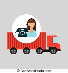 call centre woman working truck delivery logistic vector...