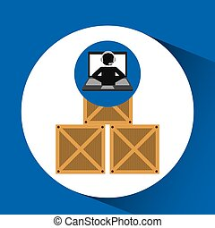delivery call centre operator online boxes vector...