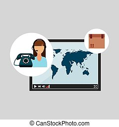 call centre woman working delivery world vector illustration...