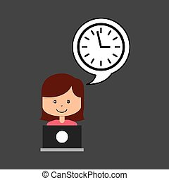 support assitance concept girl with clock time