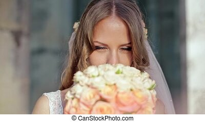 Happy Bride Smell Flowers - Happy Bride Smell Rose Flowers