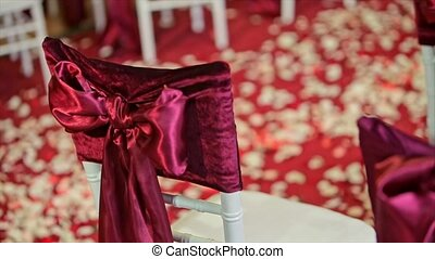 Beautiful Fabric Bow on Chair Wedding Decoration