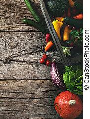 Organic vegetables on wood. Harvested vegetables. Rustic...