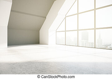 Loft interior with city view and daylight. 3D Rendering