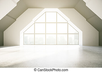 Loft interior with creative window, city view and daylight....