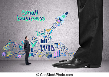 Small business concept - Tiny businessman in concrete room...