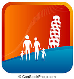 High jump - human family standing in front of leaning tower...