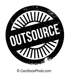 Outsource stamp. Grunge design with dust scratches. Effects...
