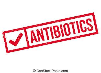Antibiotics stamp. Grunge design with dust scratches....