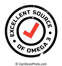 Excellent source of omega 3 stamp. Grunge design with dust...