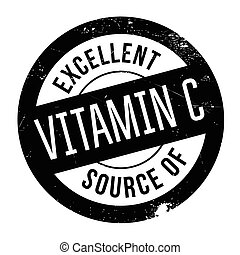 Excellent source of vitamin C stamp. Grunge design with dust...
