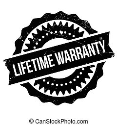 Lifetime warranty stamp. Grunge design with dust scratches....