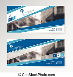Set horizontal abstract flyer template with stripes pattern