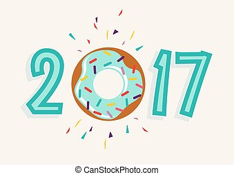 Happy New Year 2017 donut food greeting card - Happy New...