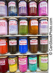 Colorful, natural and mineral colours in jars