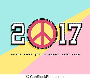 Happy New Year 2017 peace patch icon card design - Happy New...