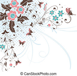 Flower background - Flower Background with Butterfly,...