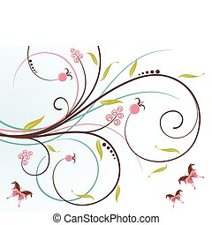 Floral background - Flower background with butterfly,...