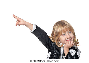 Lottle boy pointing with blond hair pointing isolated on...
