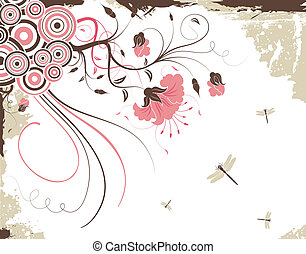 Floral frame - Grunge floral background with dragonfly,...
