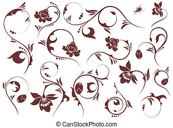 Set Floral element - Collect Floral scroll, element for...