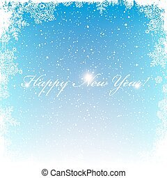 New Year Postcard. Frosty frame. Isolated center area for greeting. Christmas snowfall background. Vector illustration.