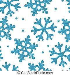 Blue snowflakes pattern seamless. Stamp textured symbols. Christmas abstract background. Vector illustration.