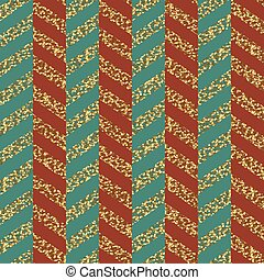 Christmas Seamless chevron pattern. Red, green and gold. Glittering golden surface.  Template for Greeting Scrapbooking, Congratulations, Invitations, Packaging.
