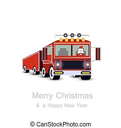 Santa Claus driving truck. Christmas card.