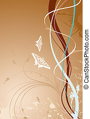 Wave background - Wave Background with butterfly and floral,...