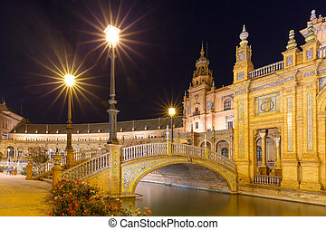 Plaza de Espana at night in Seville, Spain - Spain Square or...