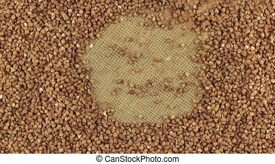Falling buckwheat grains on the rotating circle of buckwheat...