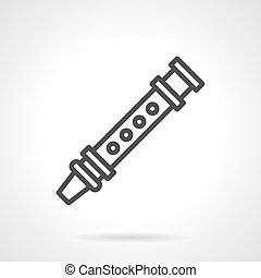 Oboe simple line vector icon - Symbol of woodwind musical...