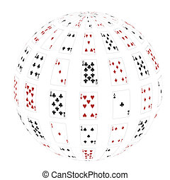 3d a sphere from playing cards