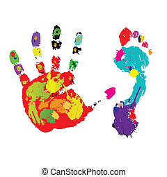 Print of a foot and palm. Vector