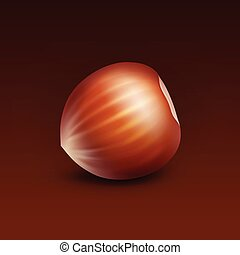 Full Unpeeled Hazelnut on Brown Background - Vector Full...