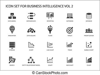 Business intelligence (BI) vector icon set