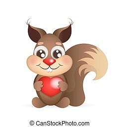squirrel holding heart
