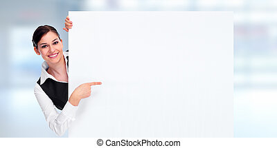 Business woman with placard - Beautiful young business woman...