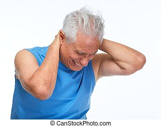 Neck pain. - Elderly man having neck pain isolated white...