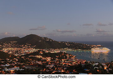 Charlotte Amalie - Panoramic view at twilight of Charlotte...
