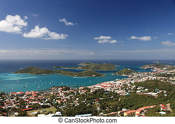 Panoramic view of Charlotte Amalie on Saint Thomas, US...