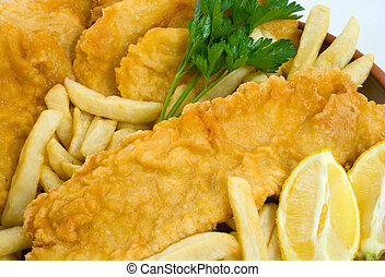 Fish, Chips and Potato Cakes