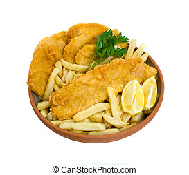 Fish, Chips and Potato Cakes over white background