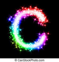 colorful alphabet letter - C - 3d rendered illustration of a...