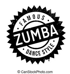 Famous dance style, zumba stamp. Grunge design with dust...