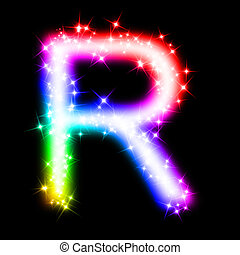 colorful alphabet letter - R - 3d rendered illustration of a...